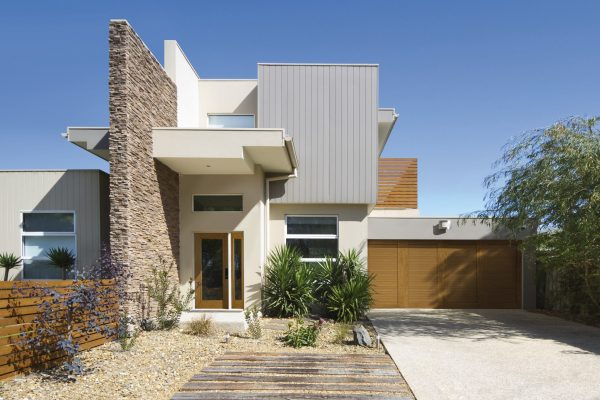 Front of a two storey contemporary architect designed townhouse home